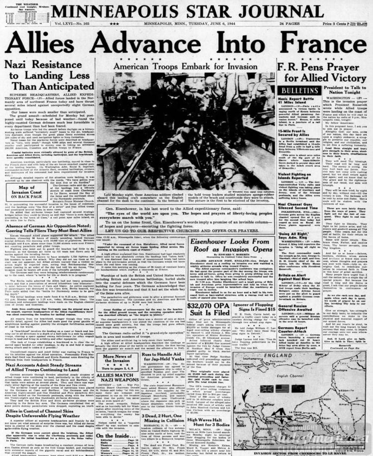Allies Advance into France Nazi resistance to landing less than anticipated
