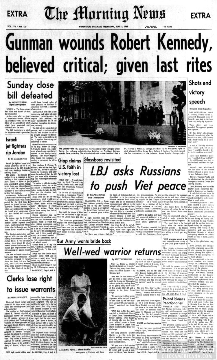 The_Morning_News - Gunman wounds Bobby Kennedy - June 5 1968