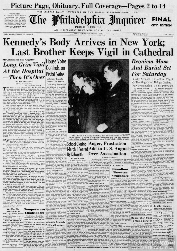 The_Philadelphia_Inquirer - RFK body arrives in NYC newspaper - June 7 1968