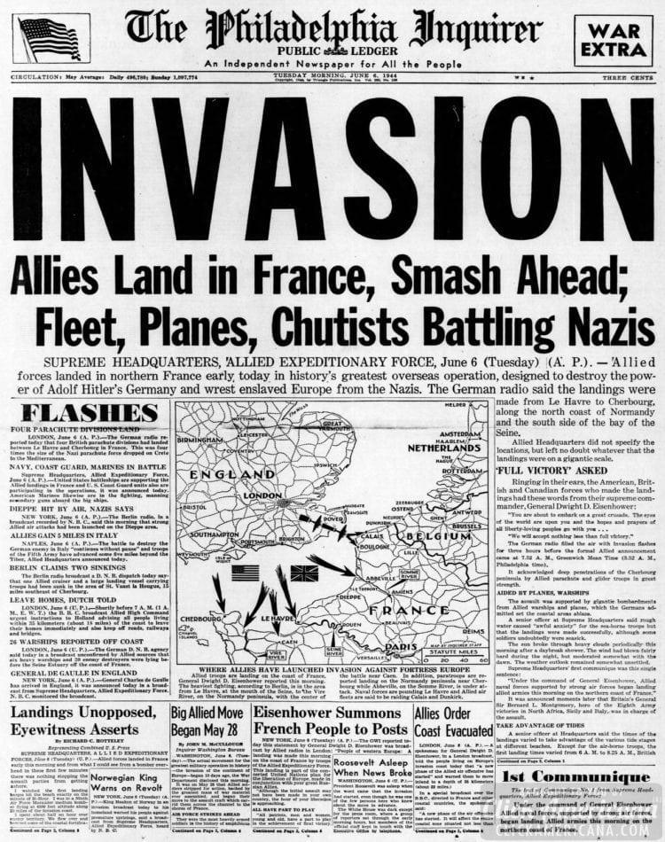 Invasion: Allies Land in France, Smash Ahead; Fleet, Planes, Chutists Battling Nazis