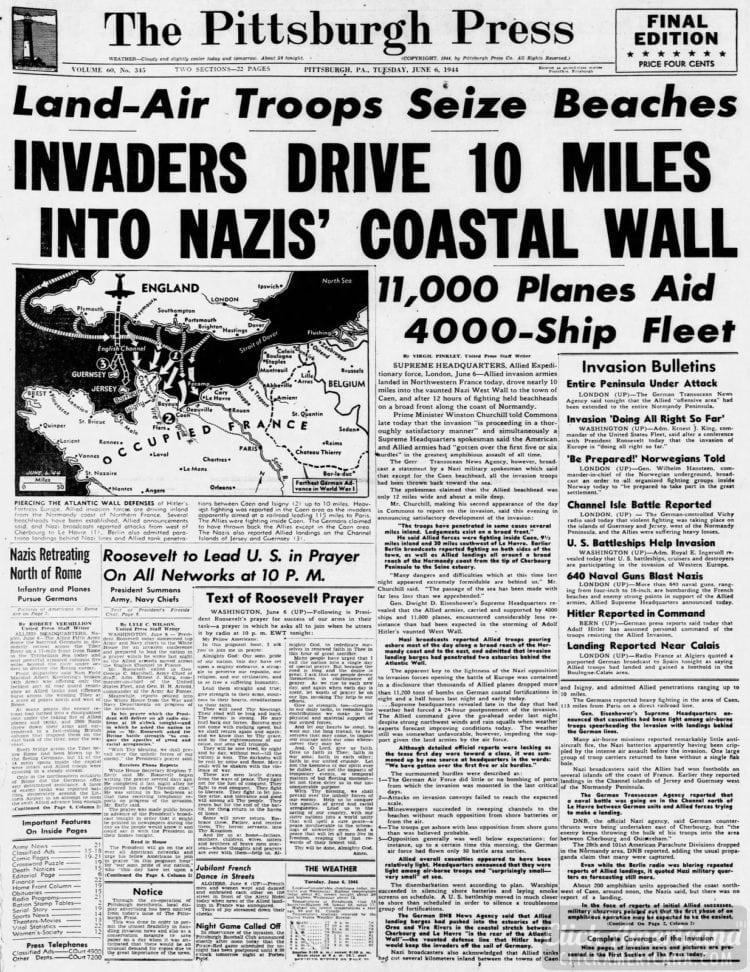 Invaders Drive 10 Miles into Nazis' Coastal Wall