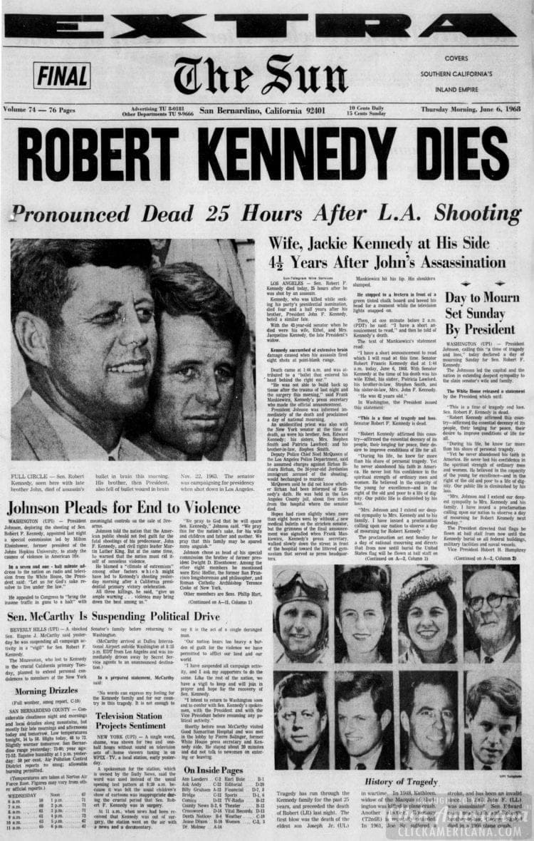 The_San_Bernardino_County - Bobby Kennedy assassinated - June 6 1968