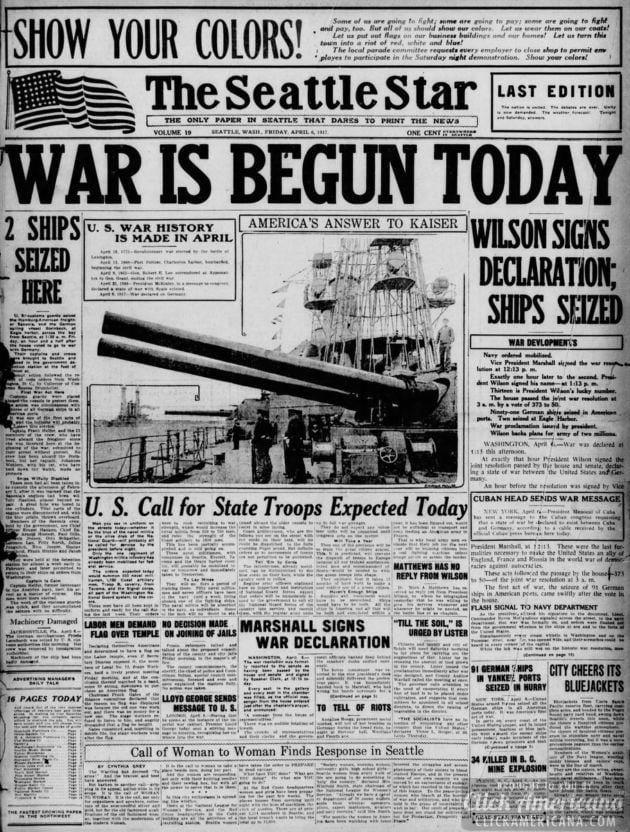 The Seattle Star - April 6, 1917 (WWI)