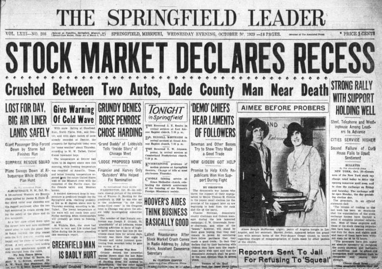 The Great Depression Newspaper headlines from 1929 - Stock Market Declares Recess