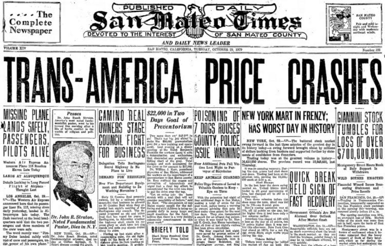 Great Depression Newspaper headlines from 1929 - Trans-America Price Crashes