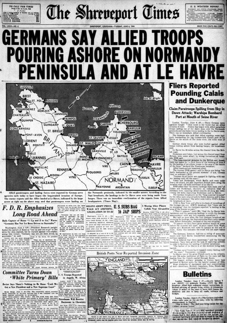 Germans Say Allied Troops Pouring Ashore on Normandy Peninsula and at Le Havre