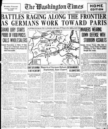 WWI newspaper headlines - The Washington Times Fri Aug 14 1914