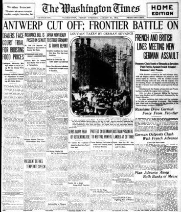 WWI newspaper headlines - The Washington Times Fri Aug 21 1914