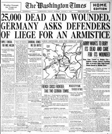 WWI newspaper headlines - The Washington Times Fri Aug 7 1914