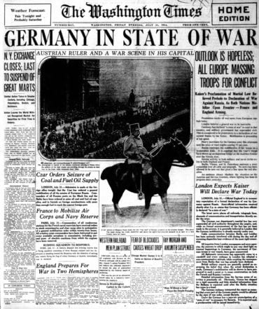 WWI newspaper headlines - The Washington Times Fri Jul 31 1914