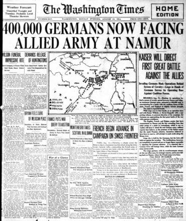 WWI newspaper headlines - The Washington Times Mon Aug 10 1914