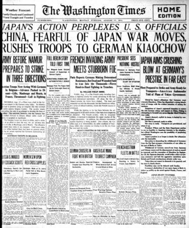 WWI newspaper headlines - The Washington Times Mon Aug 17 1914