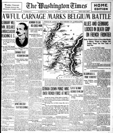 WWI newspaper headlines - The Washington Times Mon Aug 24 1914