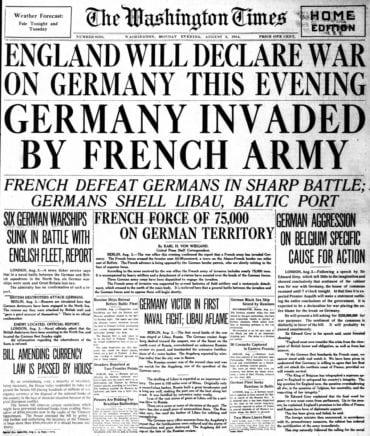 WWI newspaper headlines - The Washington Times Mon Aug 3 1914