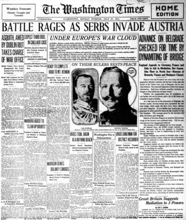 WWI newspaper headlines - The Washington Times Mon Jul 27 1914