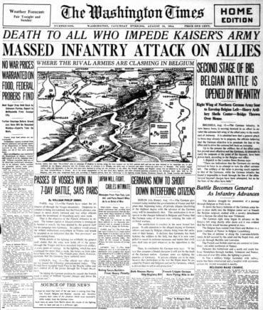 WWI newspaper headlines - The Washington Times Sat Aug 15 1914