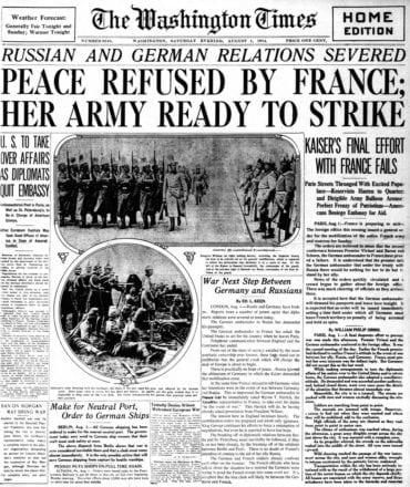 WWI newspaper headlines - The Washington Times Sat Aug 1 1914