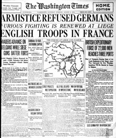 WWI newspaper headlines - The Washington Times Sat Aug 8 1914