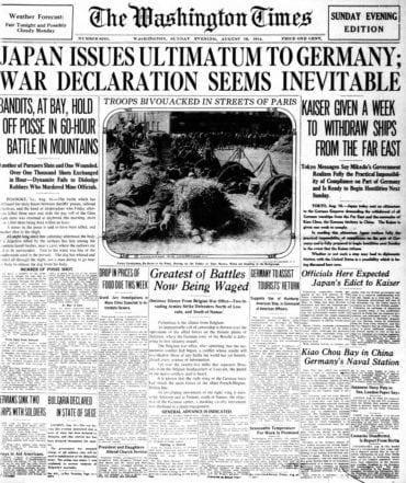WWI newspaper headlines - The Washington Times Sun Aug 16 1914