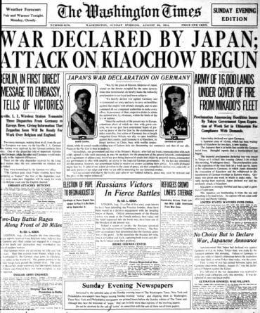 WWI newspaper headlines - The Washington Times Sun Aug 23 1914
