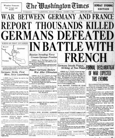 WWI newspaper headlines - The Washington Times Sun Aug 2 1914