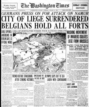 WWI newspaper headlines - The Washington Times Sun Aug 9 1914