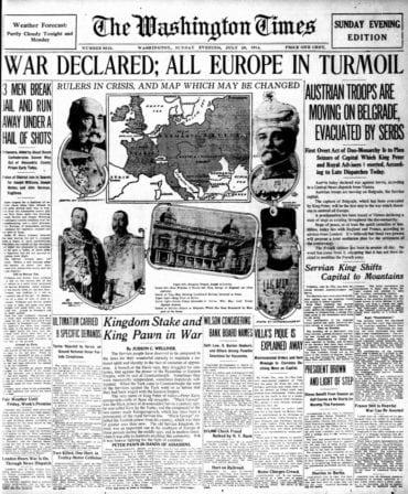 WWI newspaper headlines - The Washington Times Sun Jul 26 1914
