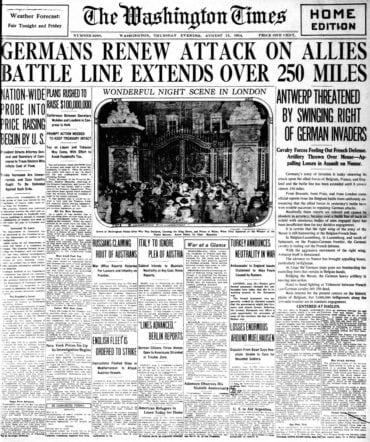 WWI newspaper headlines - The Washington Times Thu Aug 13 1914