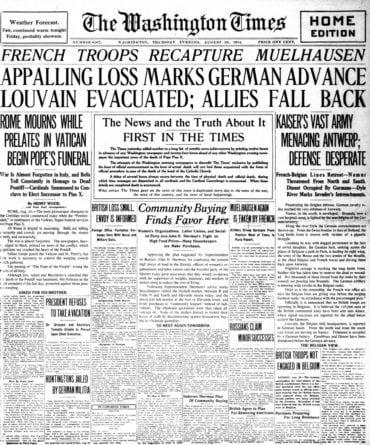 WWI newspaper headlines - The Washington Times Thu Aug 20 1914