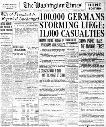 WWI newspaper headlines - The Washington Times Thu Aug 6 1914