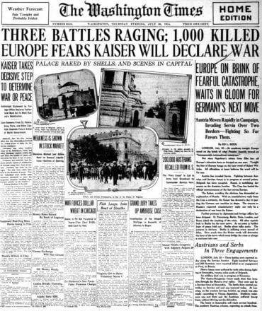 WWI newspaper headlines - The Washington Times Thu Jul 30 1914