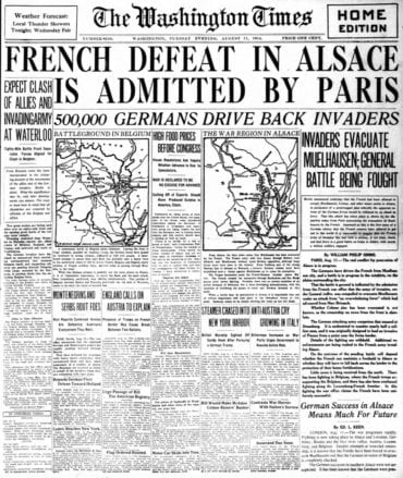 WWI newspaper headlines - The Washington Times Tue Aug 11 1914