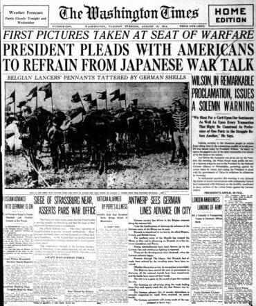 WWI newspaper headlines - The Washington Times Tue Aug 18 1914