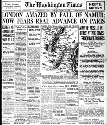 WWI newspaper headlines - The Washington Times Tue Aug 25 1914