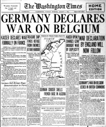 WWI newspaper headlines - The Washington Times Tue Aug 4 1914