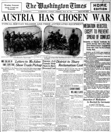 WWI newspaper headlines - The Washington Times Tue Jul 28 1914