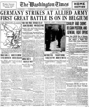 WWI newspaper headlines - The Washington Times Wed Aug 12 1914
