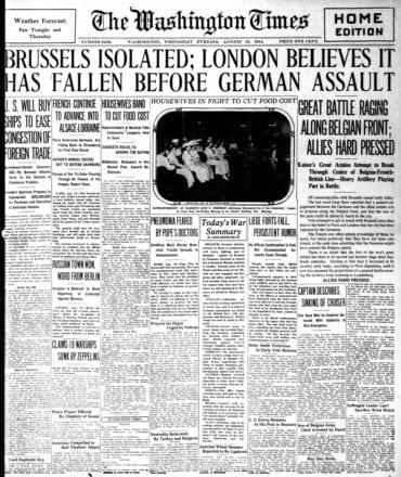 WWI newspaper headlines - The Washington Times Wed Aug 19 1914