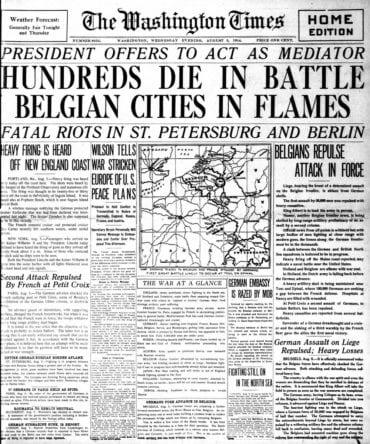 WWI newspaper headlines - The Washington Times Wed Aug 5 1914