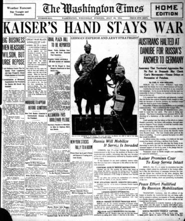 WWI newspaper headlines - The Washington Times Wed Jul 29 1914