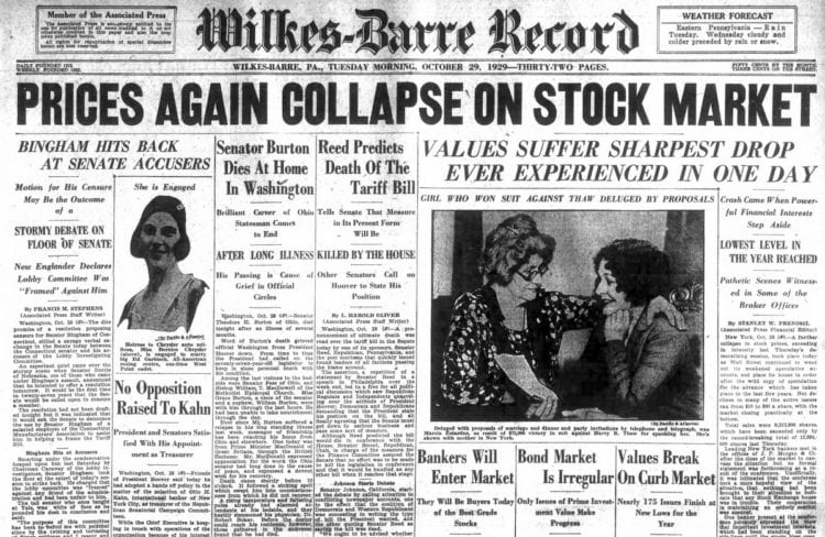 Great Depression Newspaper headlines from 1929 - Prices Again Collapse on Stock Market