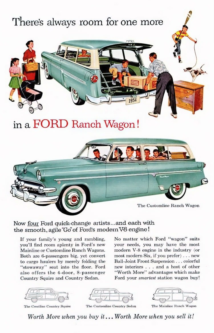 There's always room for one more in a Ford Ranch Wagon! 1954