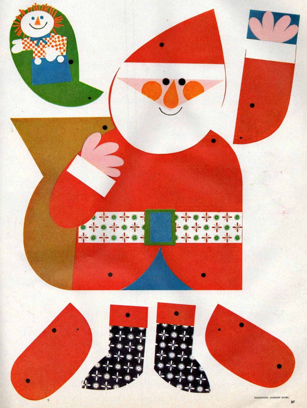 This jolly cut-out paper Santa really jumps