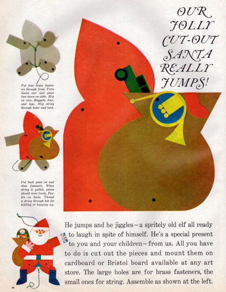 This jolly cut-out toy Santa really jump 1960 Christmas craft