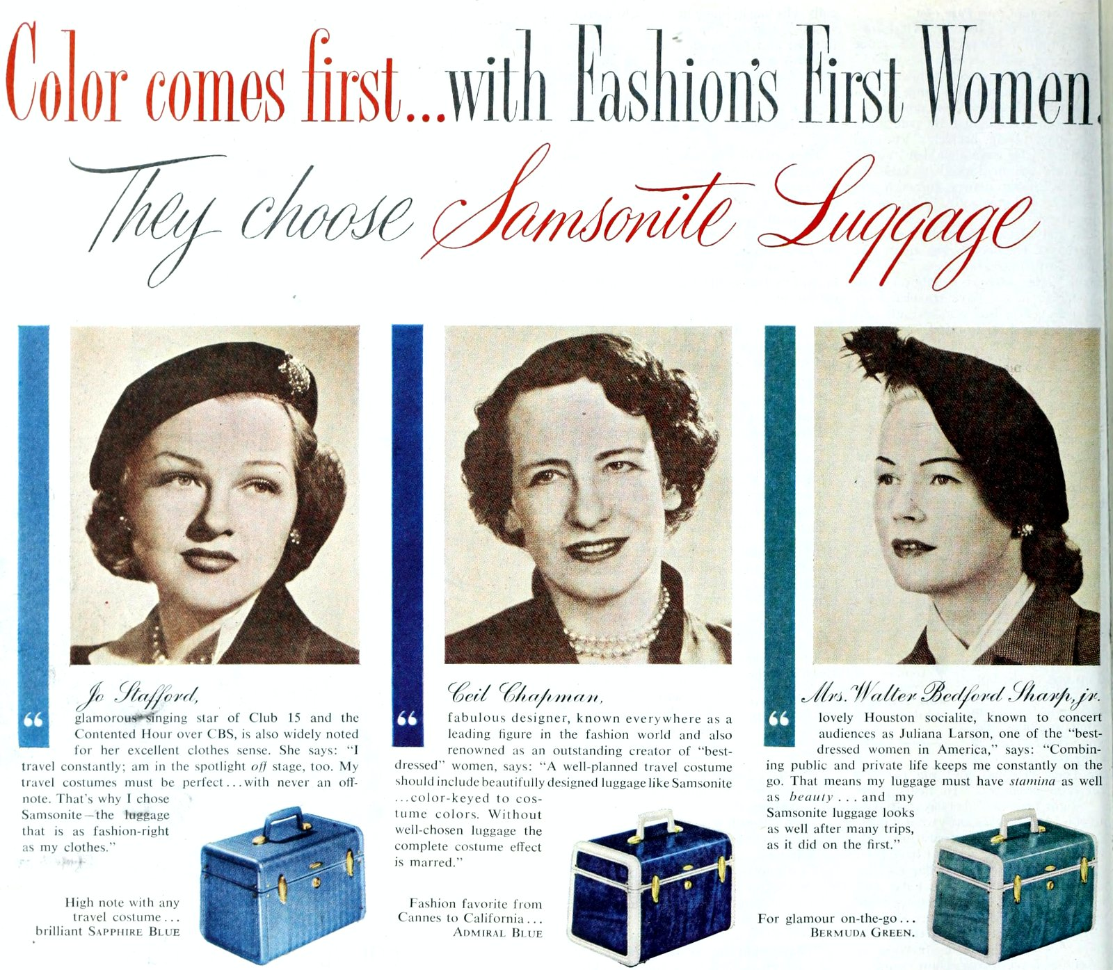 Three colors for stylish vintage luggage - Beauty cases (1951)