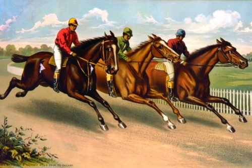 Three men on horseback racing c1885