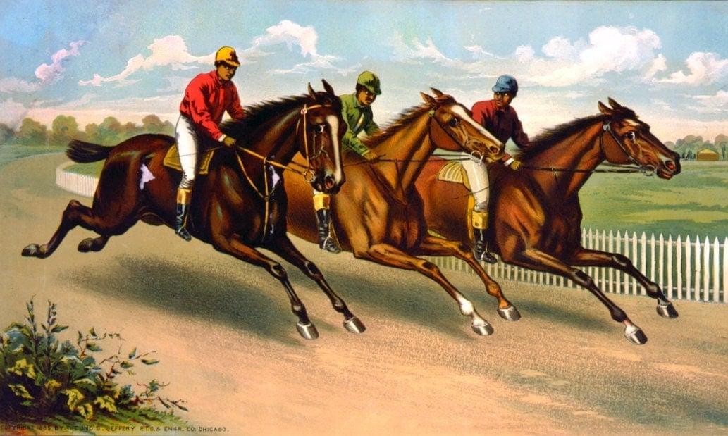 Three men on horseback racing c1885