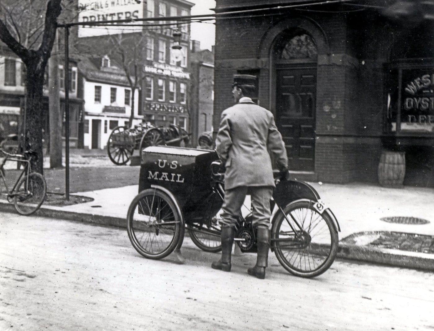 Three-wheeled Mail Collection Motorcycle Washington DC 1912