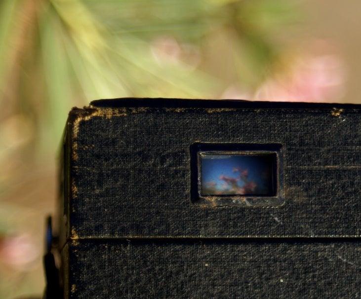 Seeing through a vintage Brownie camera viewfinder