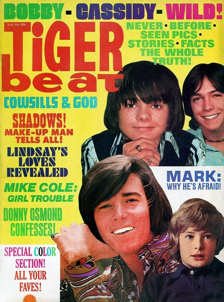 Tiger Beat magazine cover July 1970 - Bobby Sherman - Cowsills - David Cassidy